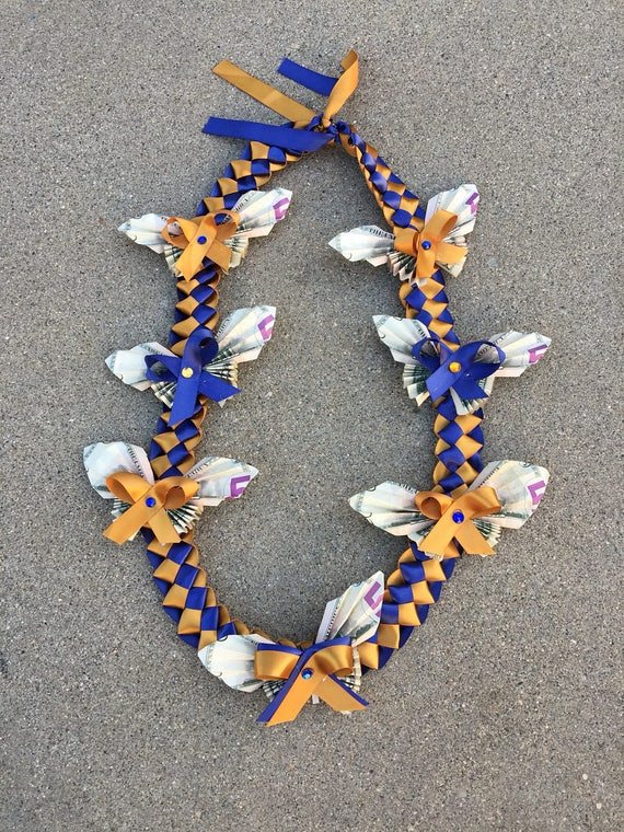 Lei Can Be Made With Construction Paper Yarn Solid: 14 Dollar Ribbon Butterfly Money Lei Money Lei Graduation