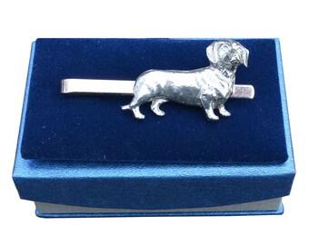 Handcast Pewter Dachshund Sausage Dog Tie Clip