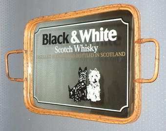 Vintage, Black & White, Scotch Whiskey, Mirror, Advertising, Serving Tray with racking frame, Mirror on wooden plate, Advertising approx 50s