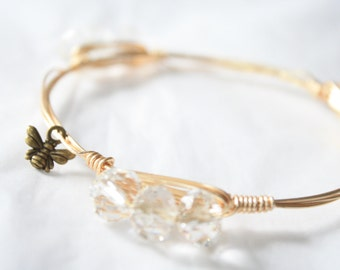 Crystal Clear Acrylic Wire Wrapped Bangle