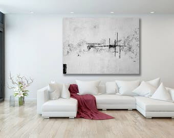 Large White Abstract Painting / Abstract Painting / Modern Art / Extra Large Art / Textured Painting / Black and White Artwork