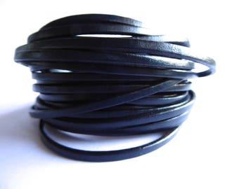 Dark Navy blue strip 3 mm sold by 20 cm leather