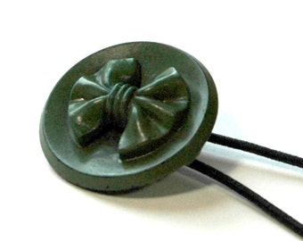 Ponytail Holder Hair Accessory - Vintage Button Olive Green with Bow Motif