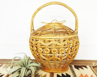 Vintage Large Rattan Basket