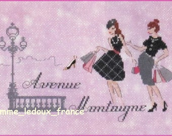 """Embroiderers Parisiennes - embroidery """"Avenue Montaigne"""" cross - stitch pattern V."""