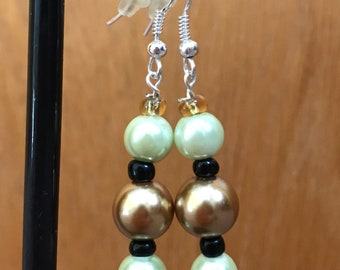 Green, Gold, and Black Drop Earrings, Green Gold Black Beaded Drop Earrings, Pale Green Gold Earrings, Gold Green Black Earrings,