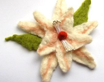 Wet felted flower brooch, off white, pink and green, felt flower hair clip, flower felt pin, corsage, big flower brooch