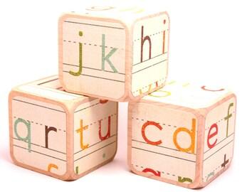 Alphabet Blocks - Wooden Baby Blocks - Educational - Baby Shower Gift - Nursery Room Decor - 2 Inch