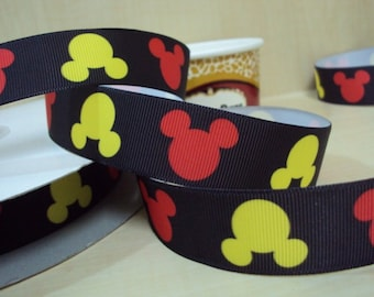 5 YDS Red and Yellow Mickey Mouse Heads Ribbon