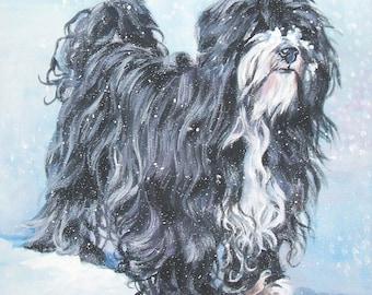 "TIBETAN TERRIER dog portrait art print of LA Shepard painting 12x12"""