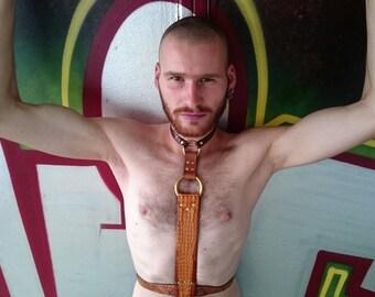 Crocodile/Snake leather harness BDSM/fetishwear/reptile/LGBTQ/harnessgear/Caramel/LARP/rave/gay/adult Baby/WGT/Festival