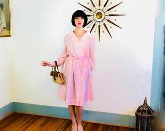 Pink 1950 Dress, Cotton Day Dress, 50s Retro Housewife, Full Sweep, Pintuck Shirt Dress, 60s MAD MEN, Sheer Long Sleeve, Plus Size 1X 14 16