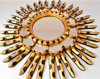 Gold Gilt Sunburst Mirror Coastal Mirror Sunburst Wall Mirror Modern Round Wall Mirror Beach House Mirror Coastal Sun Mirror Wall GLSM5101