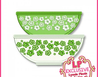 Vintage Kitchen Bowls 1 Applique  4x4 5x7 6x10  Machine Embroidery Design