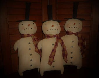 One Primitive Little Stump Snowman Doll*Cupboard Tuck* Bowl Filler*Red Scarf*Ready to ship