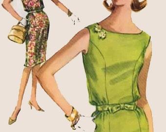 Vintage 1960s  Sheath Dress with Bateau Neckline Sewing Pattern McCalls 6181 60s Mod Madmen Pattern Size 12 Bust 31