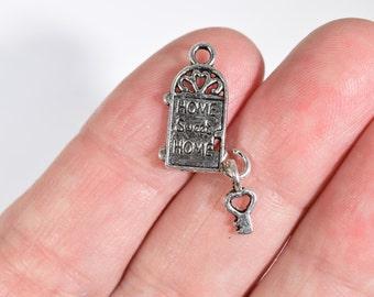 8 Door and key charms | door charms | home sweet home charms | bracelet charms & House door charm | Etsy