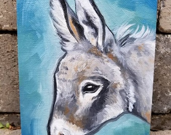 DonkeyBlue; 5x7in Oil Painting on Canvas Board, Wall Decor FREE SHIPPING