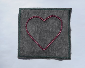 Small Hand Embroidered Pink Heart on Upcycle Gray Denim Sew On Hippie Patch One of a Kind Festival Fashion Free Shipping Love Embroidery