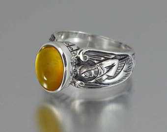 GUARDIAN ANGELS silver ring with Amber (sizes 5 to 8.5)