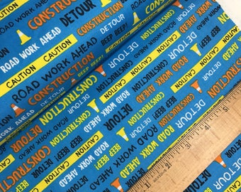 Construction Words in Blue from The Big Dig Collection by Whistler Studios for Windham Fabrics, Construction Vehicles, Trucks, 42927 2