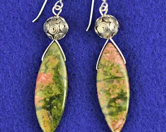 Unakite Briolette .925 Silver dangle Earrings