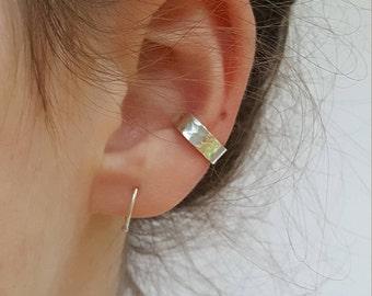Silver Ear Cuff  -  Hammered Sterling Silver Ear Cuff  -  Adjustable No Piercing  Silver Ear Cuff -  Minimalist Ear Cuff  -  By Linda Tucker