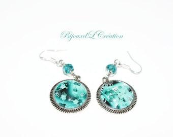 Surreal flowers turquoise earrings