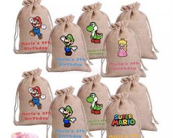 Super Mario Theme Burlap Goodie Bags   Party Favors   Super Mario Party