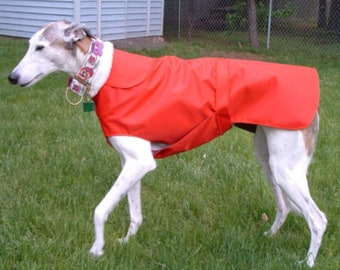 R9 Red Greyhound Raincoat.  Free Shipping!