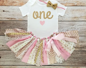 Pink and Gold First Birthday Outfit with Gold Bow Headband and Heart Bodysuit/Pink and Gold Arrow Fabric Tutu/Baby Girl Birthday Outfit