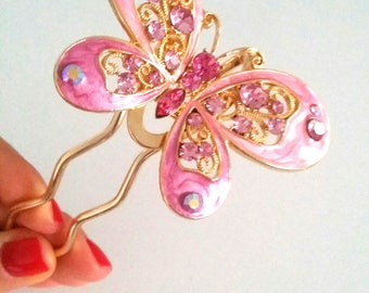 Pink Butterfly Hair pin accessory