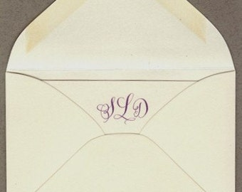Escort cards and envelopes with custom calligraphy and monogram