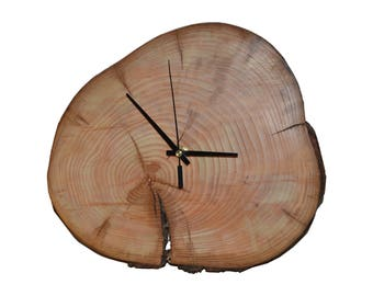 "Wall Clock Wood ""The versatile"" ash tree slice Holzuhr"