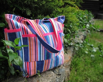 Carnival of Stripes Upcycled Deluxe Tote
