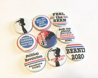 Bernie Sanders 2020 for President - pinback buttons - 1 inch - set of 9