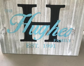 Wooden Monogram Sign with Name