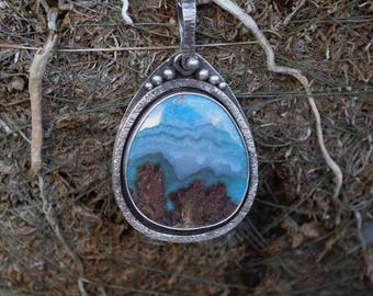 Prudent Man Necklace, Plume Agate, Mountain, Sterling Silver, Metalsmith Jewelry