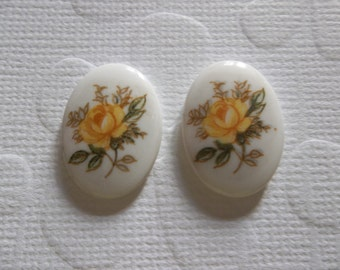 Vintage Cameos - Yellow Rose on White Cameo -  18X13mm Glass Cabochons - Qty 6
