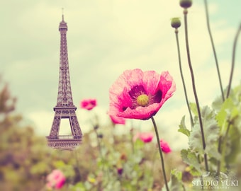 Paris Photography, Eiffel Tower, Poppies, Nature, French Decor, Travel Photo, Paris, Spring, Large Wall Decor,France, Summer, Pink, Romantic
