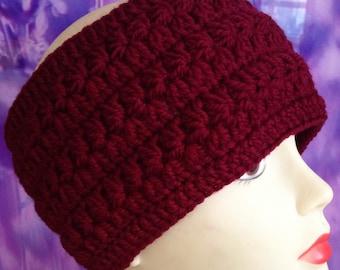 Claret Crochet headband/ Chunky crochet headband/ Winter Headband/ Womens Headband/ Chunky Ear Warmer/ Thick headband/ Crochet Ear Warmer