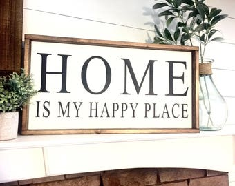 Home is my happy place 12X24  / Farmhouse Sign / Rustic / Home Decor / Hand painted / Wood sign / Farmhouse Style