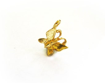 Gold Vermeil Butterfly Charms 2 pcs Butterfly Charm 11mm CH223