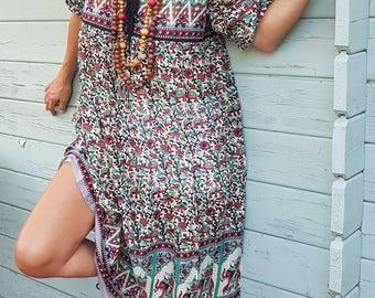 Knee-length dress all style elephant print woman midi ethnic hippie chic bohemian Indian cotton voile gauze dress Gypsy dress dress dress