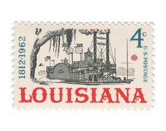 10 Unused Vintage Postage Stamps - 1962 4c Louisiana Statehood - Item No. 1197