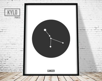 Cancer Zodiac Print, Constellation Poster, Astrology Print, Nursery Wall Art, Nursery Decor, Geometric Printable, Constellation Art, Zodiac