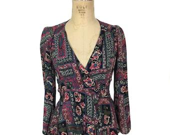 vintage 1970's floral wrap blouse / Tres Bien / rayon / semi-sheer / boho bohemian / women's vintage blouse / size medium