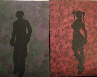 Harley Quinn and Joker Silhouettes Paintings