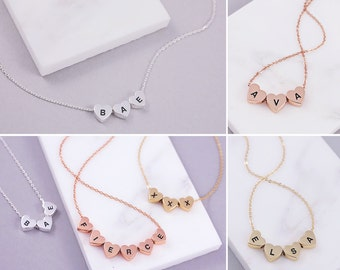 Custom Name Necklace | Tiny Heart Necklace | Dainty Name Necklace | Two Letter Necklace | Tiny Letter Necklace | Name Initial Jewelry