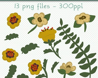 Gold Flowers Clip Art | Designer Resources | Clipart | Floral Clipart | Digital Download | PNG Clip Art | Digital Clip Art | Floral Graphics